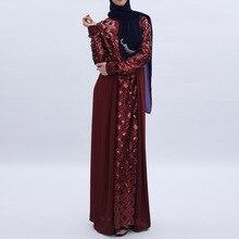 Women Dress Sequins Stitching Long Robe Abaya Jilbab Muslim Maxi Dresses Arabian Designer Elegant Party Robes Plus Size 2XL