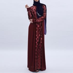 Image 1 - Women Dress Sequins Stitching Long Robe Abaya Jilbab Muslim Maxi Dresses Arabian Designer Elegant Party Robes Plus Size 2XL