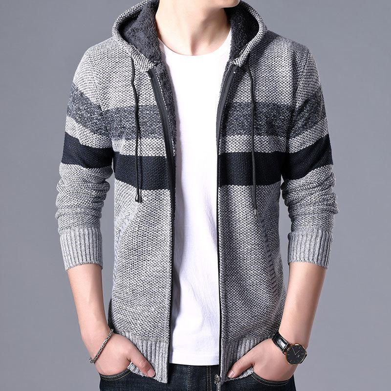 2020 Winter Men's Stripe Sweater Coat Fleece Hooded Full Zip Casual Jackets Thick Long Sleeve Knitted Wool Sweaters Casual Wear