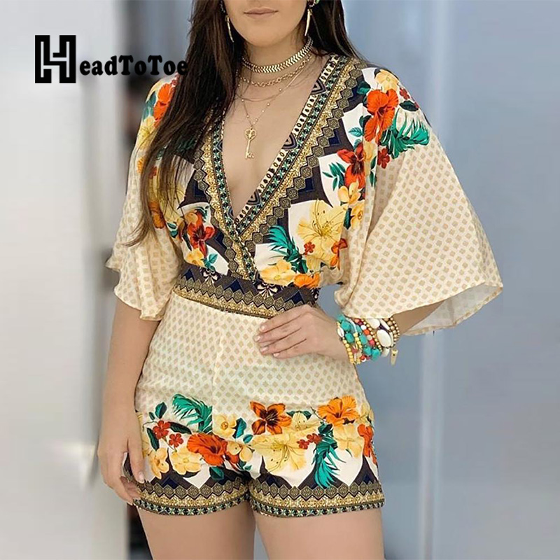 Deep V Neck Floral Half Sleeve Romper Women Playsuits Summer Casual One Piece Overalls