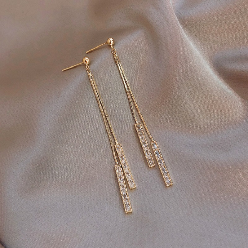 2020 New Long Crystal Tassel Gold Color Dangle Earrings for Women Wedding Drop Earing Fashion Jewelry Gifts