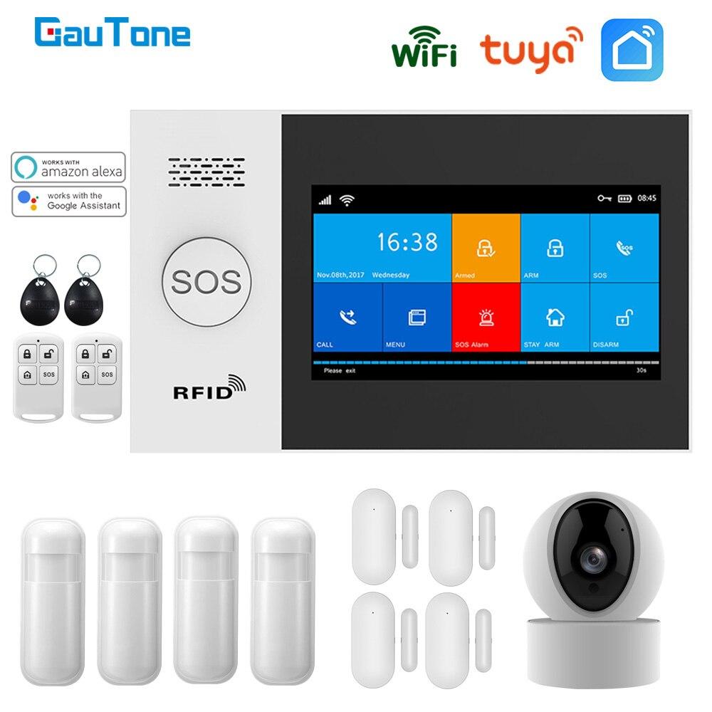 GauTone PG107 Wi-Fi GSM сигнализация Системы для домашней охранной сигнализации Поддержка приложение Tuya удаленный контроль совместим с IP Камера