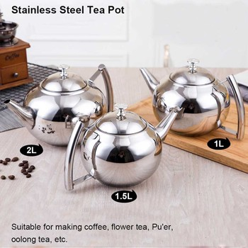 BORREY 2L Stainless Steel Teapot With Tea Infuser Filter Oolong Kettle Metal Tea Coffee Pot Induction Cooker Gas Stove Kettle 4