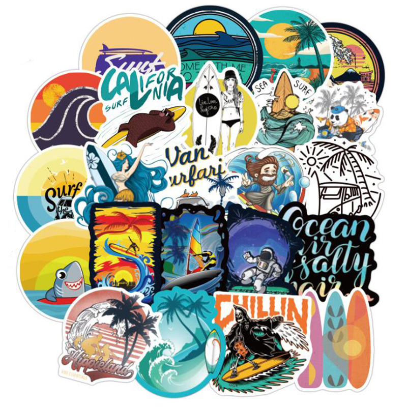 100PCS Outdoor Adventure Summer Surf Beach Stickers For Car Styling Motorcycle Phone Laptop Travel Luggage DIY TOY Sticker
