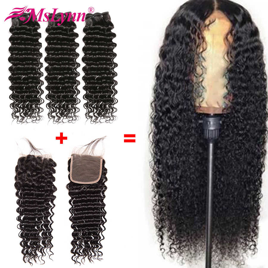 Deep Wave Bundles With Closure Free Customized Into 4x4 Closure Wig Lace Human Hair Wigs Mslynn Remy Hair Wigs