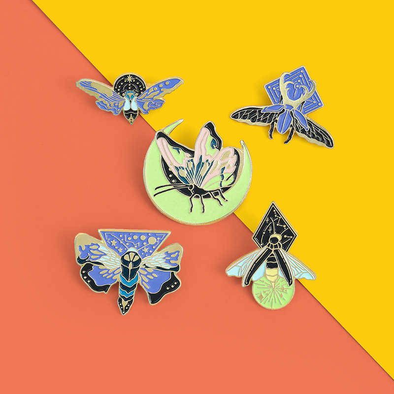 5Styles Luminous Enamel Pin Moth Butterfly Moon Custom Brooches Bag Lapel Pin Cartoon Animal Badge Jewelry Gift for Kids Friends