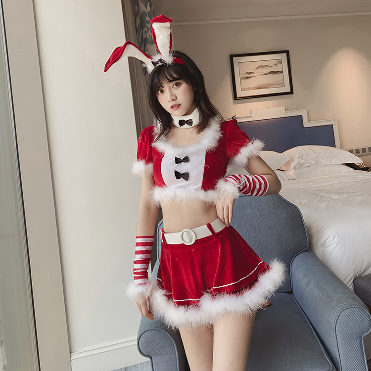 <font><b>Christmas</b></font> Bunny Girl <font><b>Sexy</b></font> Lingerie Cosplay Uniform Velvet Lace Rabbit Ear <font><b>Outfit</b></font> 7PCS Party Roleplay Women Clubwear <font><b>Sexy</b></font> <font><b>Costume</b></font> image