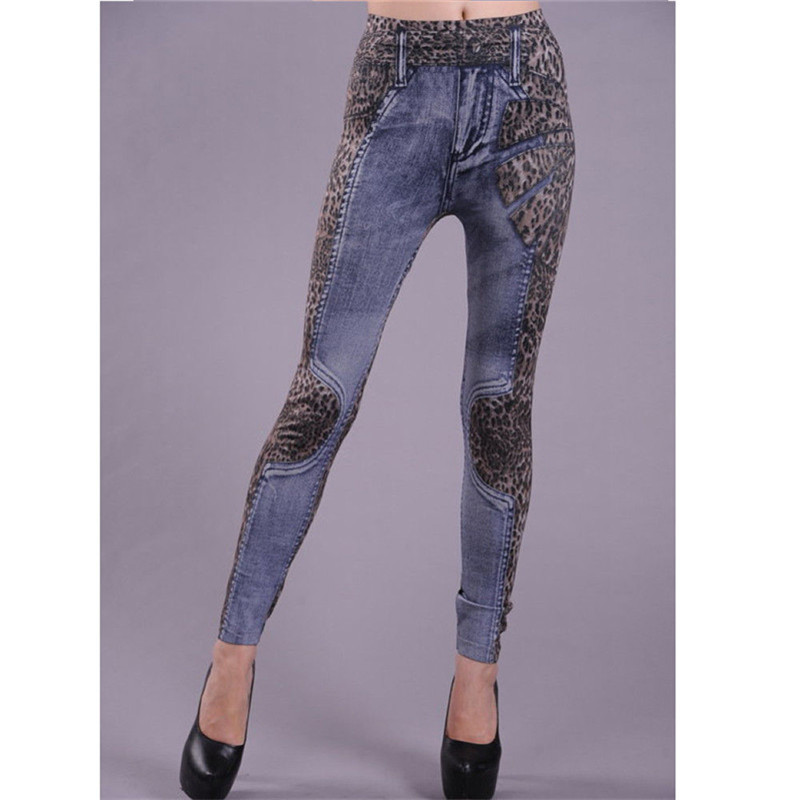 2019 Spring Autumn Women Imitation Jeans Leggings Casual Fake Denim Blue Leggings Street Floral Leopard Patchwork Women Leggings