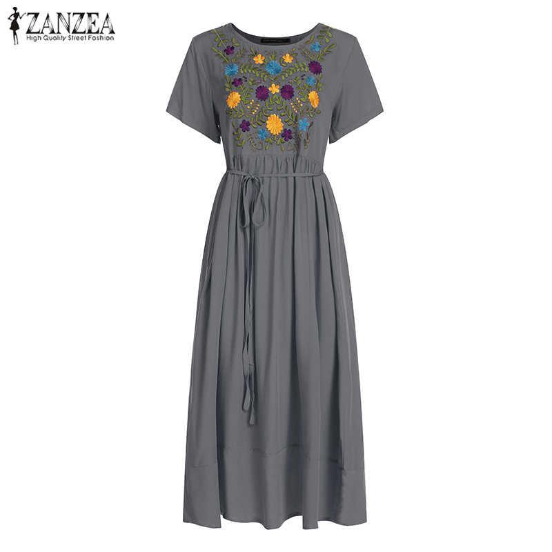 ZANZEA kadınlar Maxi uzun elbise artı boyutu yaz elbise 2020 kısa kollu Casual gevşek nakış çiçek parti Vestidos Robe Femme