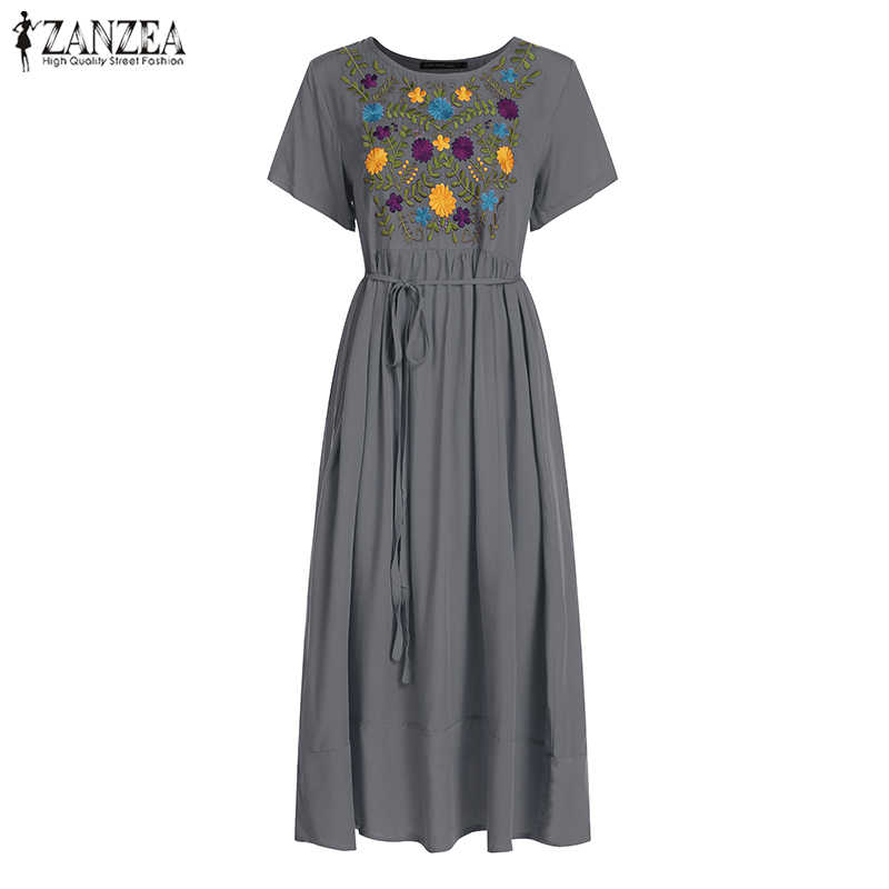Zanzea 女性マキシロングドレスプラスサイズの夏のドレス 2020 半袖カジュアルルーズ刺繍花パーティー vestidos ローブファム