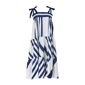 Image 3 - TWOTWINSTYLE Striped Spaghetti Strap Dress 2020 Summer Clothes For Women Streetwear Boho Sleeveless A Line Elegant Long Dresses