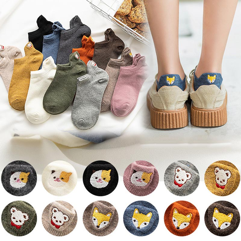 Kawaii Embroidered Cat fox Women   Socks   Happy Fashion Ankle Funny   Socks   Women Cotton Summer 1 Pair Candy Color