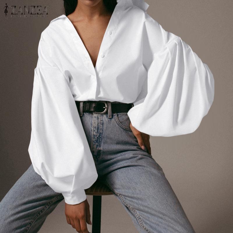 ZANZEA Fashion Women Lapel Neck Lantern Sleeve Blouse 2020 Spring Casual OL Work Blusas Female Tunic Top Chemise White Shirt 7