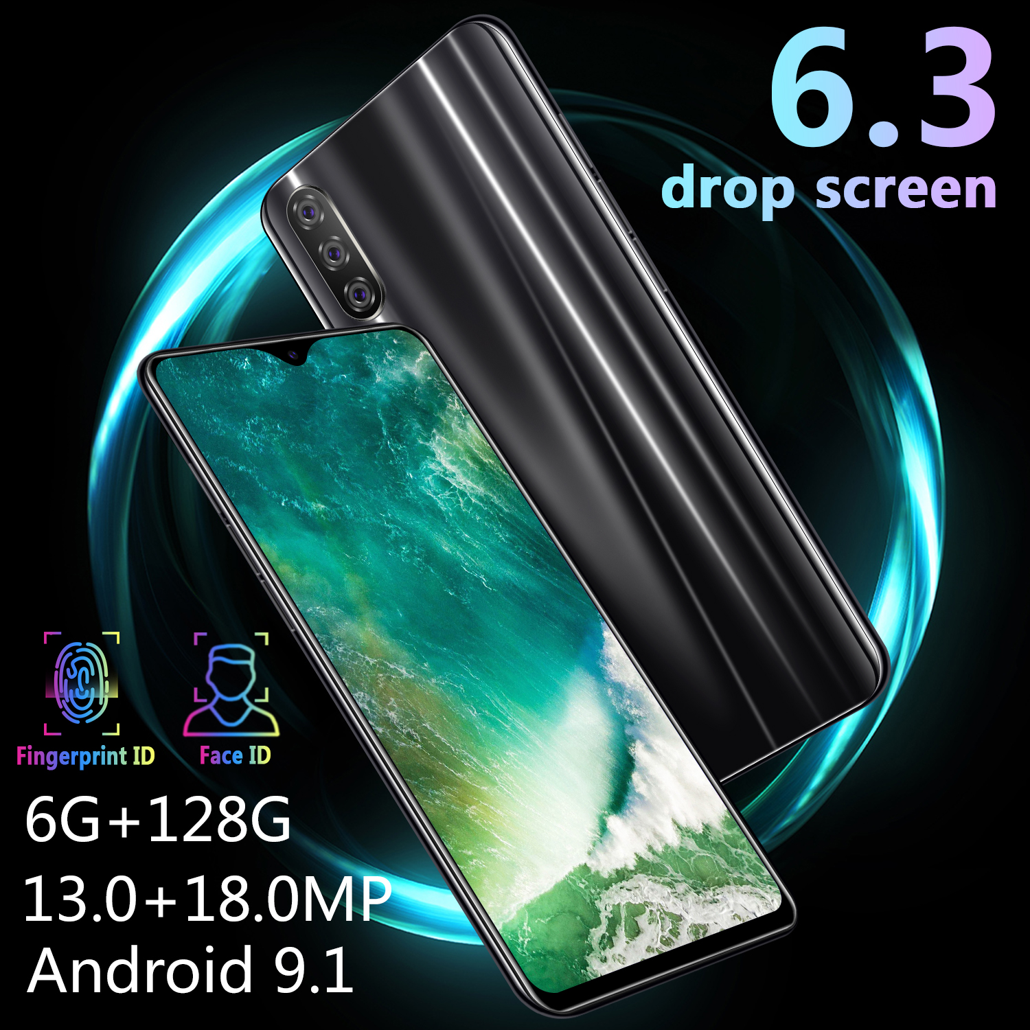 CHAOAI M9 Smartphone 6GB 128GB Global Version Smart Cell Phone 6.3 inch Water Drop Screen Dual Sim 3G Mobile-in Cellphones from Cellphones & Telecommunications