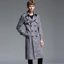 Mens trench coats man Extra long deerskin coat men Double-breasted clothes overc