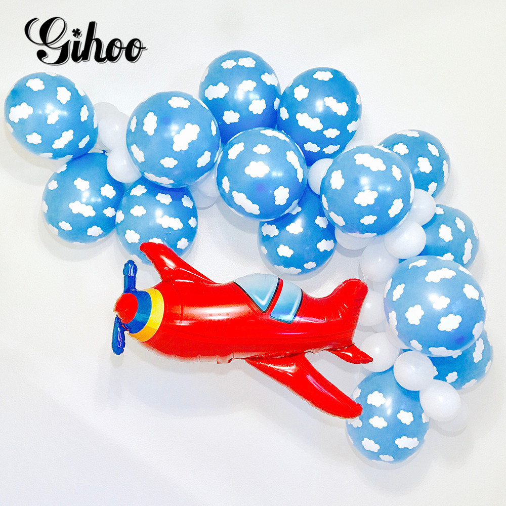 Airplane White Cloud Balloons Boy Toy Kids Birthday Party Supplies Air Globos Birthday Wedding Decor Baby Shower ballon image