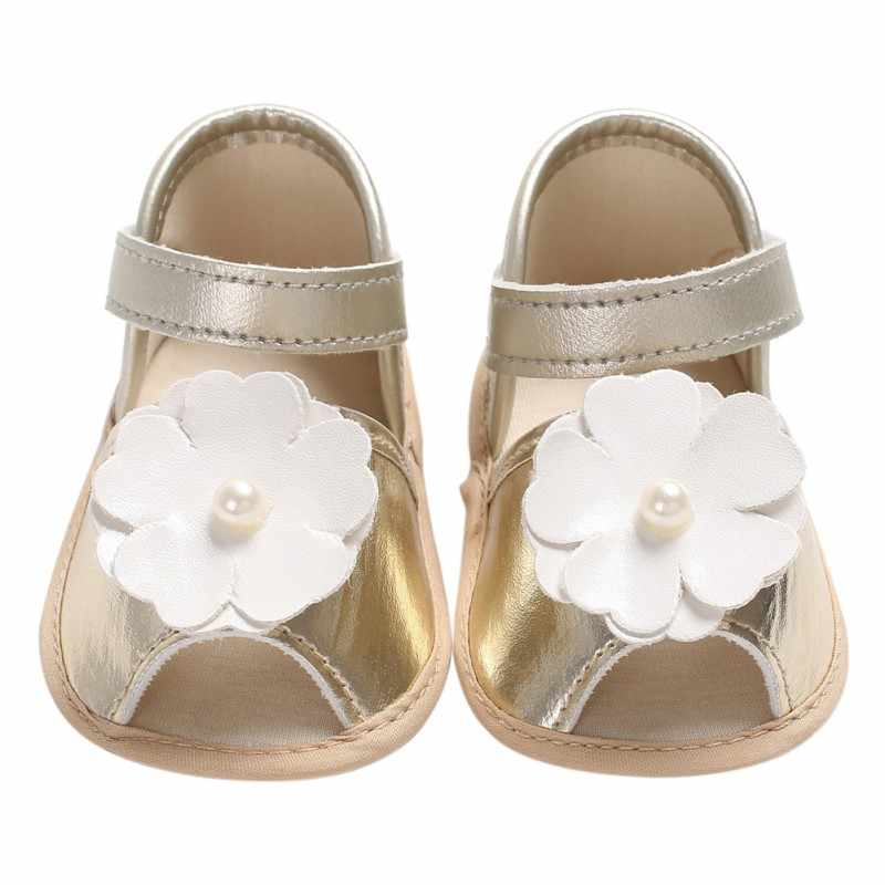 ใหม่ PU หนัง First Walkers เจ้าหญิงรองเท้าเด็กหญิงฤดูร้อนดอกไม้พิมพ์ Prewalkers เด็กวัยหัดเดินนุ่มลื่นรองเท้า