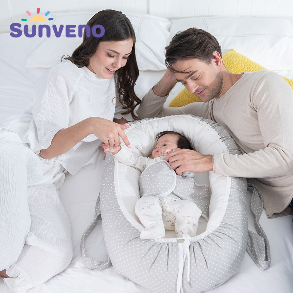 Sunveno Cotton Moses Basket Adjustable Baby Nest Travel Cradle For Newborns Toddler Bed Portable Co-Sleeping Cribs 0-24 Months
