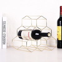 European-Style Gold-Tone Iron Art Red Wine Rack INS Creative Living Room Wine Cabinet Display Stand Hive Bar Counter Ornament