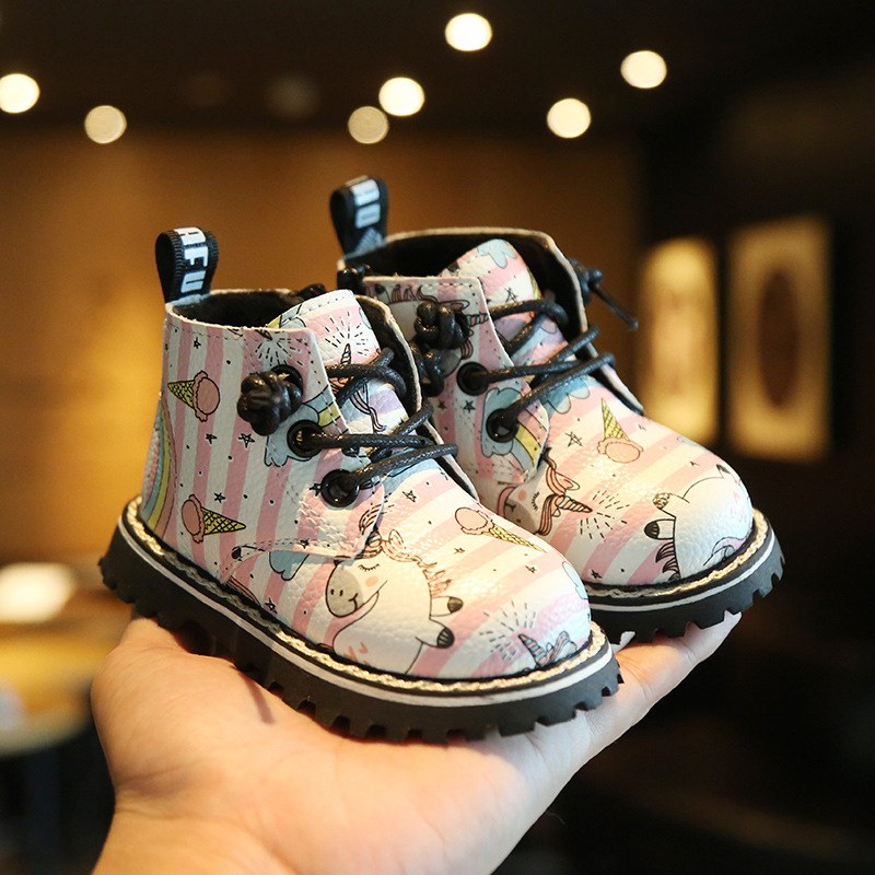 Image 3 - Unicorn Horse Rainbow Microfiber Leather Infant Boots Hard Sole Baby Shoes Girls Kids Winter First Walkers Prewalker 0 24monthBoots   -