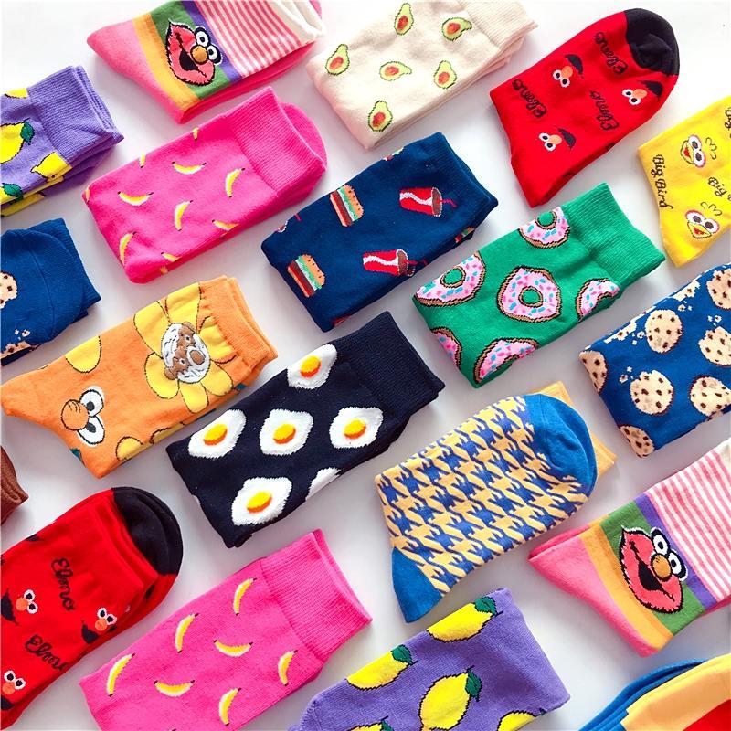 Funny socks cute cartoon fruits banana lemon pineapple avocado food happy Japanese Harajuku skateboard Socks(China)