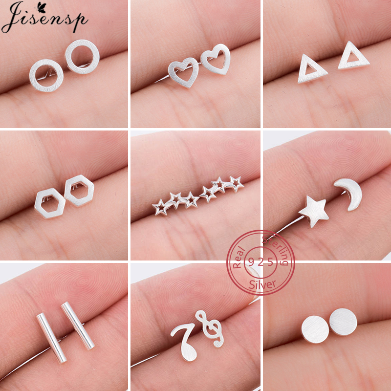Real 925 Sterling Silver Stud Earrings for Women Minimalist Jewelry Geometric Triangle Hexagon Heart Round Earring pendientes