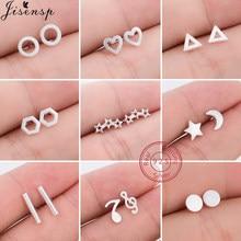 Boucles d'oreilles en argent Sterling 925 véritable pour femmes, bijoux minimalistes, Triangle géométrique, hexagone, cœur, rond, pendientes