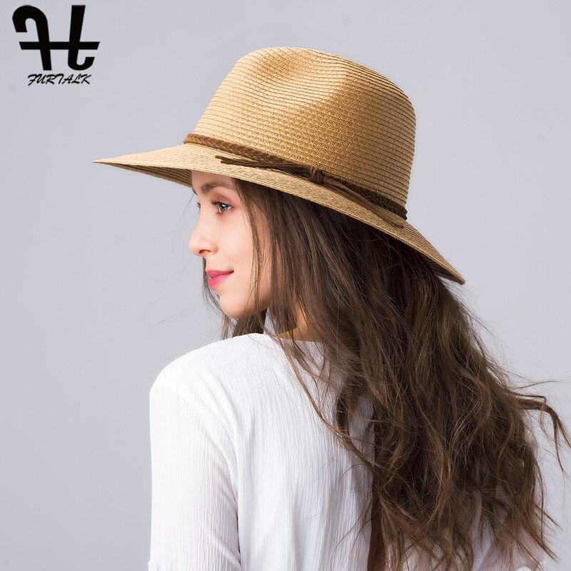 FURTALK Summer Hat for Women Straw Beach Hat Panama Sun Hats Fedora Bucket Caps for Female Summer Beach UV Cap chapeau femme 2