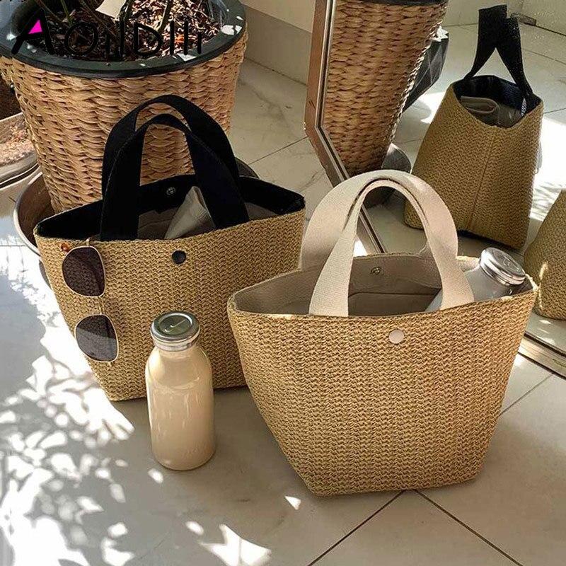 Casual Rattan Women Handbags Summer Beach Straw Bags Wicker Woven Female Totes Large Capacity Lady Buckets Bag Travel Purse 2019