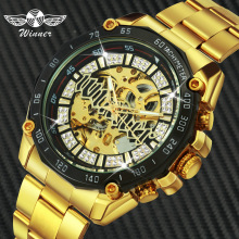 WINNER Official HIP HOP Golden Automatic Watch Men Diamond Iced Out Skeleton Mechanical Watches Brand Luxury Punk Wristwatches