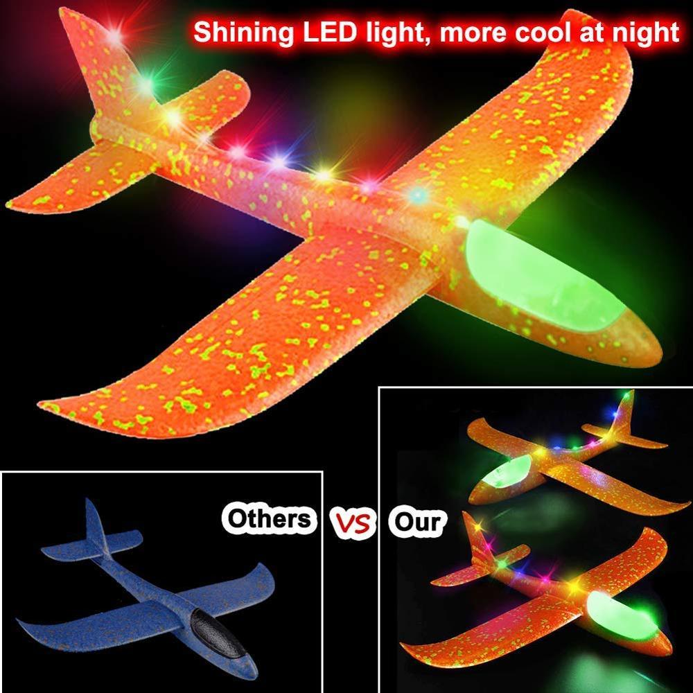 Jouet d'avion de LED de jet de main de mousse, modèle d'avions d'inertie de planeur de Mode de vol de 48cm LED, avions d'avion pour le Sport en plein air d'enfants 3