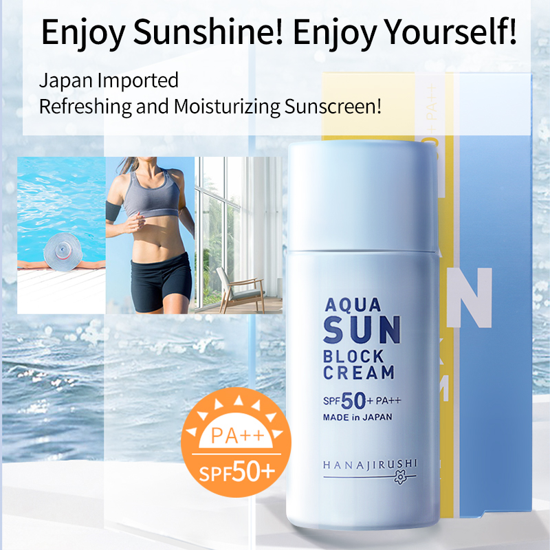 HANAJIRUSHI Sunscreen Aqua Sun Block SPF 50 PA++ Sun Screen Ultra-Light Water-Resistant Texture Sun Cream 55ml