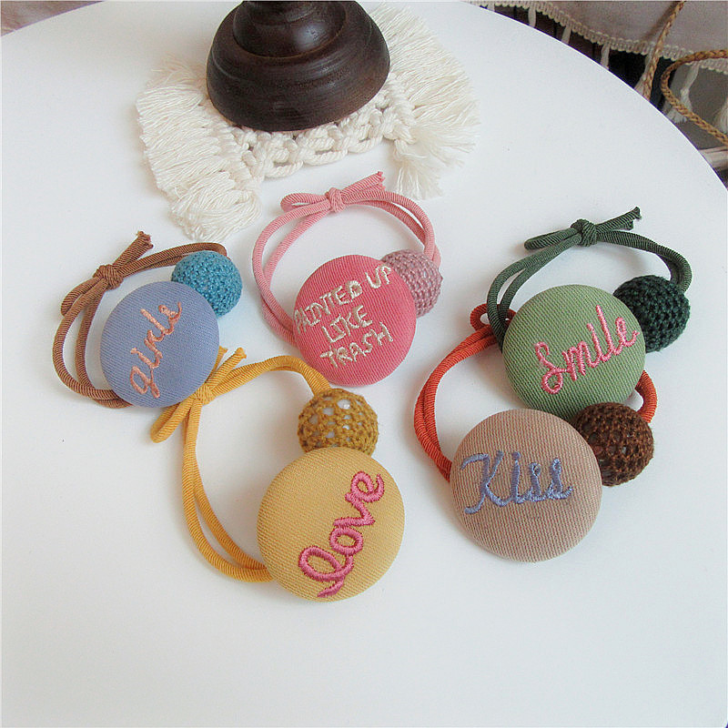 Japanese Korean Fashion Sweet Girl Ponytail Hair Accessories Simple Beautiful Embroidery Letter Button Rubber Band Hair Rope