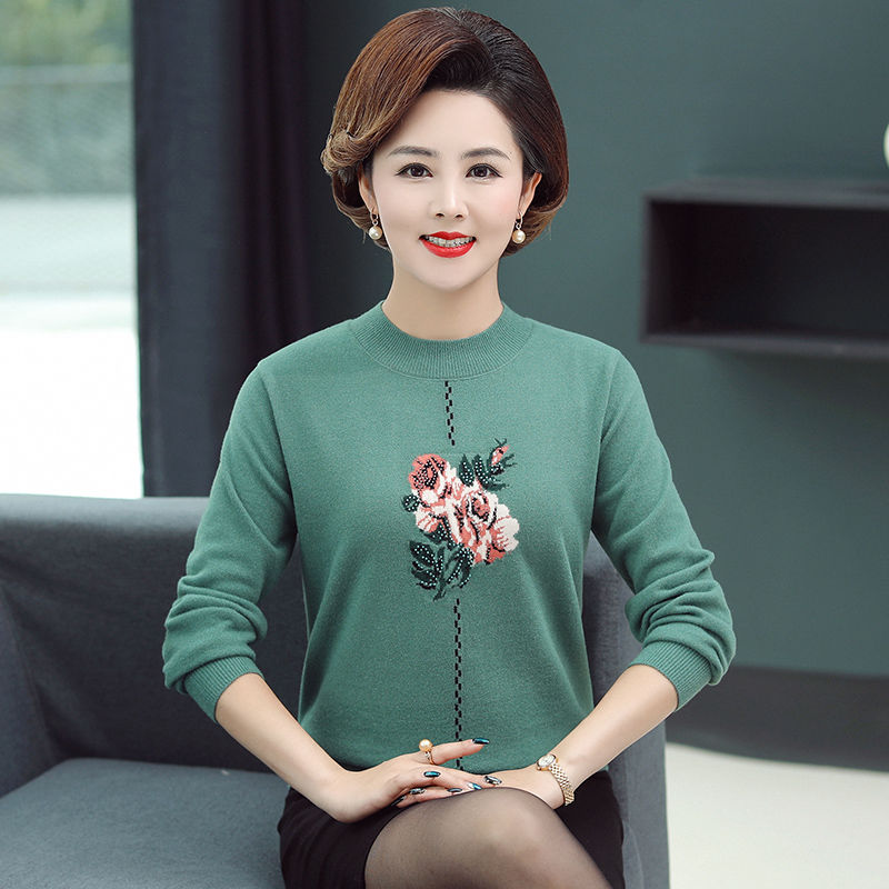 Middle-aged and elderly women's autumn and winter thickened sweater grandma's sweater base shirt large size jacket