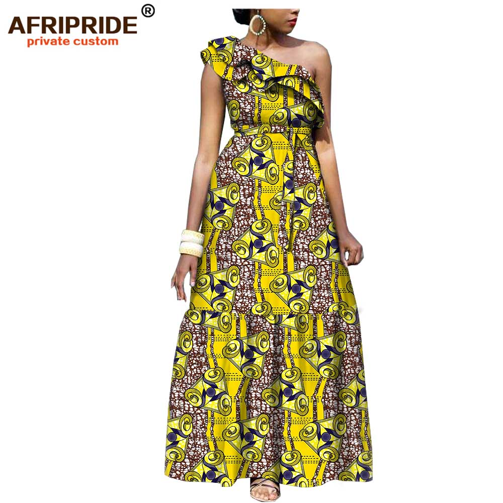 2019 african fashion casual dress for women AFRIPRIDE tailor made one shoulder fit and flare women batik cotton dress A1825111-in Dresses from Women's Clothing    1
