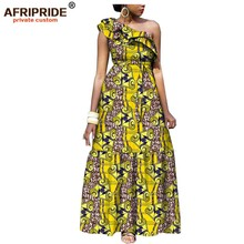 2019 african fashion casual dress for women AFRIPRIDE tailor made one shoulder fit and flare women batik cotton dress A1825111 рем ворд революционер все по порядку