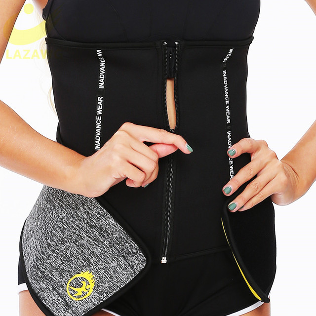 LAZAWG Waist Trainer Thermo Sweat Belt Weight Loss Girdle Corset Women Tummy Body Shaper Fat Burning 3 Ways Firm Control Waist 2
