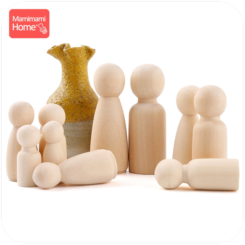 Mamihome 65mm 55mm 43mm 30PCS Peg Dolls Toys Painted Unfinished Wooden DIY Crafts Block Toys Wooden Blank Children'S Goods Toys
