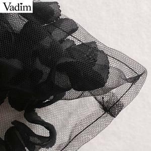 Image 5 - Vadim 女性セクシーな透明なメッシュショートブラウス長袖クロップトップ女性スタイリッシュなパーティークラブシャツ blusas LB543