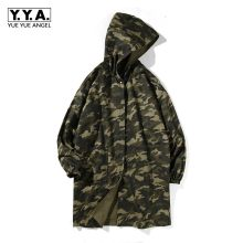 New Army Green Camouflage Reversible Trench Coat For Men Winter Thick Cotton Lining Mens Overcoat Long Oversize Hooded Jackets(China)