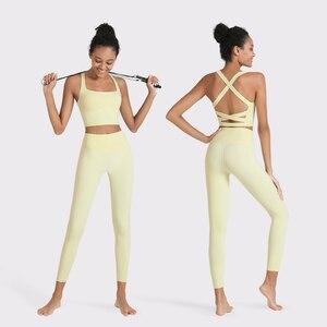 Roupa de treino para as mulheres conjunto yoga ginásio de fitness esportes ternos cintura alta leggings correndo treinamento esportivo sutiã + calças