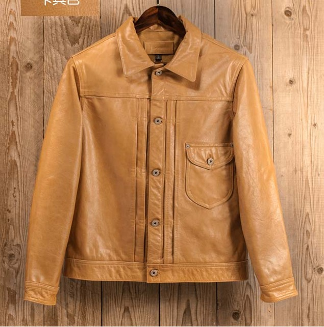New Italy cowhide men's genuine leather coat short motorcycle jacket for male vintage style yellow grey plus size xxxl 2xl 3xl