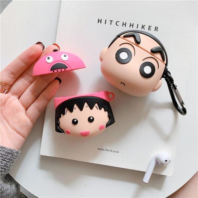 3D Leuke Japan Cartoon Chi Bi Maruko Crayon Shin Chan Oortelefoon Cases Voor Apple Airpods 1 2 Siliconen bescherming Cover