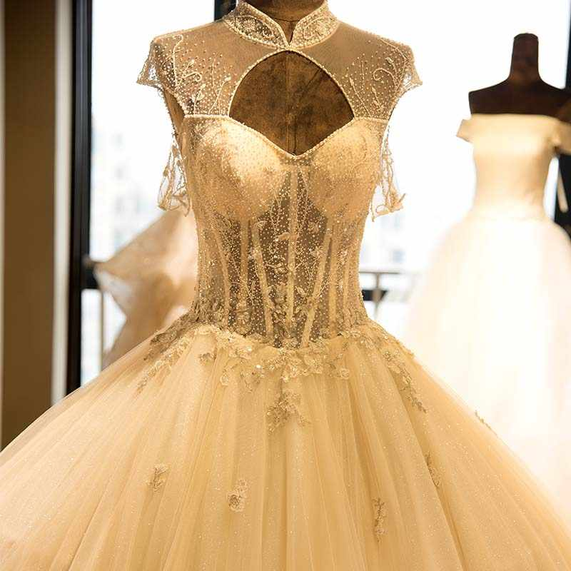 יוקרה גבוהה צוואר כדור שמלת חתונת שמלה ואגלי שווי שרוול חתונה שמלה פתוח חזרה הכלה שמלת Vestido דה noiva