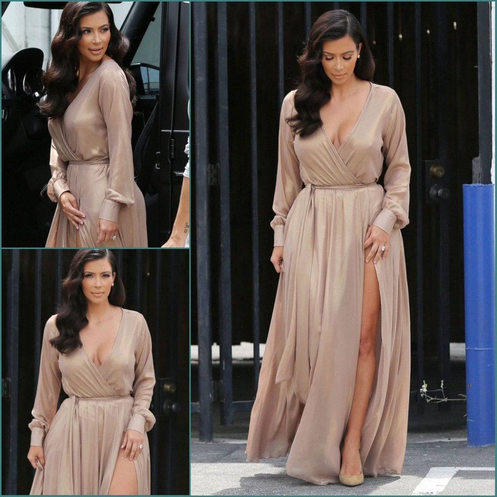 Custom made V neck Long Sleeve  2018 sexy deep v-neck Champagne Silk Chiffon Cheap Evening gown mother of the bride dresses