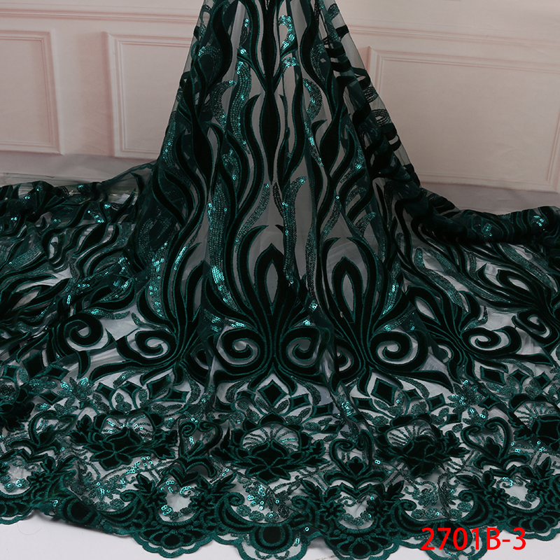 Sequins Velvet Net Lace Fabric African Net Lace Fabric 2019 New Arrival French Lace Fabrics With Sequence For Women KS2701B-3