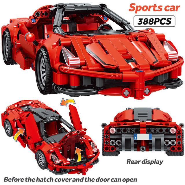 City MOC Technic Pull Back Mechanical Supercar Sports Car Model Building Blocks Creator Racing Vehicle Bricks Toys For Children
