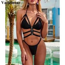 Swimsuit Women Bikini-Set HALTER-ZIPPER Two-Pieces V2349 Bandage Lady New