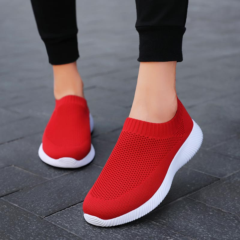 Plus Size Light Weight Sneakers Women's Socks Trainers Woman Running Shoes Ladies Sports Shoes Sport Women Summer Red Walk A-411