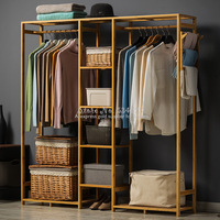30%A1 Modern Wardrobe Multifunction Storage Rack Orgnizer Floor Shoe Large Capacity Clothing Hanger Coat Home Furniture
